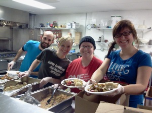 Serving dinner at Hope City
